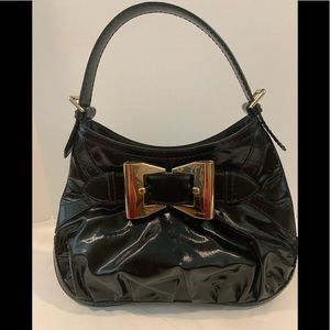 GUCCI Large Queen dialux Black patent hobo bag